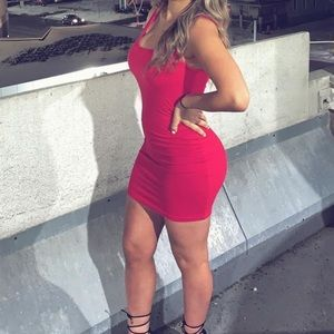 Red mini dress